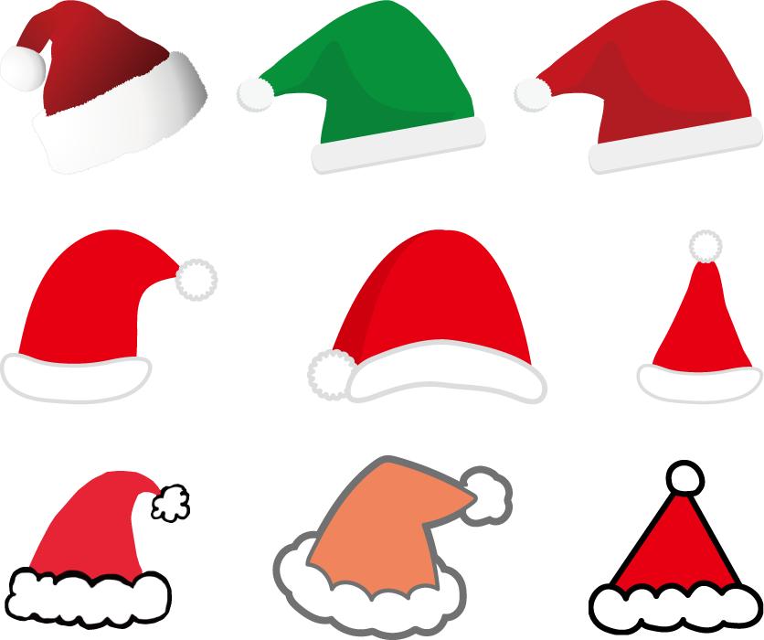 フリーイラスト 9種類のサンタの帽子のセット