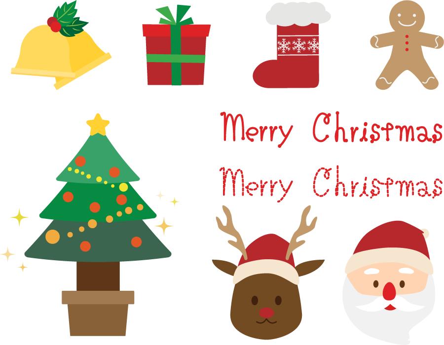 フリーイラスト サンタやトナカイやツリーなどのクリスマス関連のセット
