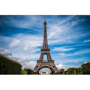 フリー写真, 風景, 建造物, 建築物, 塔(タワー), エッフェル塔, フランスの風景, パリ, 雲, 青空