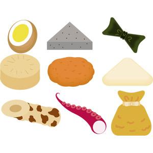 フリーイラスト, ベクター画像, AI, 食べ物(食料), 料理, 鍋料理, おでん, 冬, 日本料理, ゆで卵, こんにゃく(コンニャク), 昆布(コンブ), 大根(ダイコン), さつま揚げ, 半片(はんぺん), 竹輪(ちくわ), 蛸(タコ), 餅巾着(もち巾着)