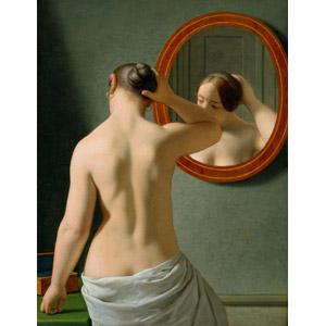 フリー絵画, エッケルスベール, 人物画, 女性, 後ろ姿, 鏡(ミラー), 背中, 俯く(下を向く), 髪の毛を触る