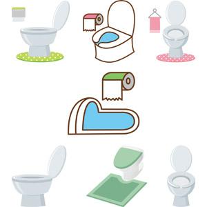 フリーイラスト, ベクター画像, AI, トイレ, 便器, トイレットペーパー