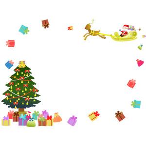 フリーイラスト, ベクター画像, AI, 背景, フレーム, 囲みフレーム, 年中行事, クリスマス, 12月, 冬, クリスマスツリー, クリスマスプレゼント, トナカイ, ソリ, サンタクロース