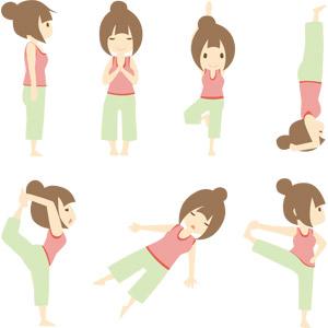 フリーイラスト, ベクター画像, AI, 人物, 女性, 運動, ヨガ, 体操, ストレッチ, 手を合わす, 逆立ち, 仰向け, 寝る(寝顔)