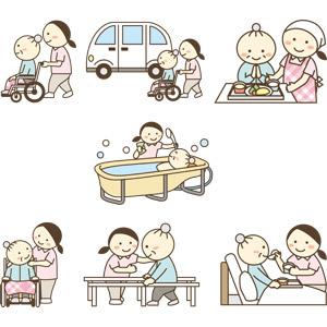 フリーイラスト, ベクター画像, AI, 介護, 介護職員, 訪問介護員(ホームヘルパー), 理学療法士, 職業, 仕事, 人物, 女性, 老人, 祖母(おばあさん), 車椅子, 食事介護, 入浴介護, リハビリテーション, 食事, デイサービス, 老人ホーム