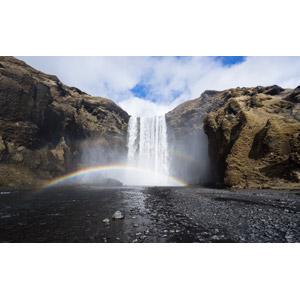 フリー写真, 風景, 自然, 滝, 虹, スコゥガフォス, アイスランドの風景