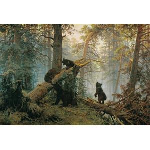 フリー絵画, イヴァン・シーシキン, コンスタンティン・サヴィツキー, 風景, 自然, 森林, 松(マツ), 倒木, 樹木, 動物, 哺乳類, 熊(クマ), 親子(動物), 子供(動物)