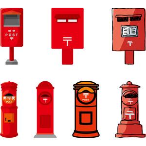 フリーイラスト, ベクター画像, AI, 郵便, 郵便ポスト, 赤色(レッド)
