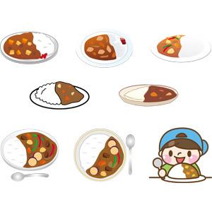 フリーイラスト, ベクター画像, AI, 食べ物(食料), 料理, 洋食, カレー, カレーライス, 米料理