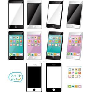 フリーイラスト, ベクター画像, AI, スマートフォン(スマホ), 携帯電話, 電話, アイコン