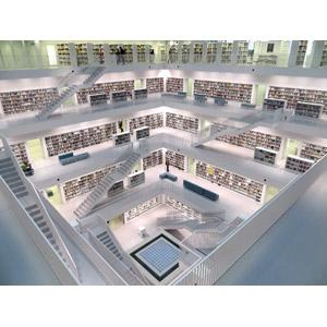 フリー写真, 風景, 建造物, 建築物, 図書館, 本棚, ドイツの風景, シュトゥットガルト