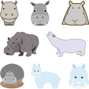 フリーイラスト, ベクター画像, AI, 動物, 哺乳類, 河馬(カバ)