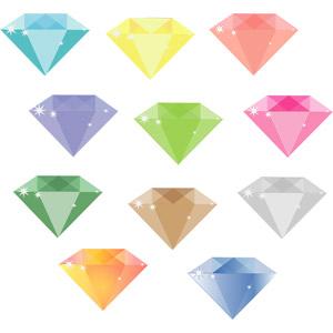 フリーイラスト, ベクター画像, SVG, 宝石, ダイヤモンド, カラフル, レディースファッション