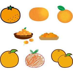 フリーイラスト, ベクター画像, AI, 食べ物(食料), 果物(フルーツ), みかん(ミカン)