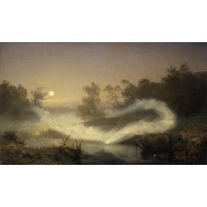 フリー絵画, アーギュスト・マルムストレム, 妖精(フェアリー), 月, 神話・伝説の生物, 満月