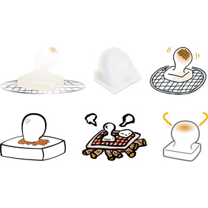 フリーイラスト, ベクター画像, AI, 食べ物(食料), 料理, 焼き餅, 餅(もち), 正月, 1月