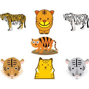 フリーイラスト, ベクター画像, AI, 動物, 哺乳類, 虎(トラ), ホワイトタイガー