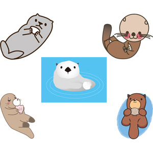 フリーイラスト, ベクター画像, EPS, 動物, 哺乳類, ラッコ