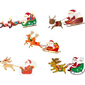 フリーイラスト, ベクター画像, AI, 年中行事, クリスマス, 12月, 冬, サンタクロース, ソリ, トナカイ