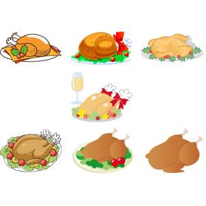 フリーイラスト, ベクター画像, AI, 食べ物(食料), 料理, 肉料理, ローストターキー, ローストチキン, 七面鳥, 鶏肉料理, 年中行事, クリスマス, 12月
