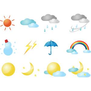 フリーイラスト, ベクター画像, AI, 天気, 晴れ, 雨, 傘, 曇り, 強風, 雪, 雪だるま, 落雷(カミナリ), 虹, 太陽, 月, 天体, 満月, 三日月, 雲