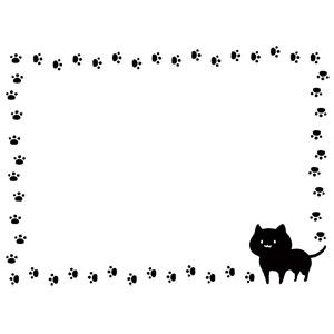 フリーイラスト, ベクター画像, AI, 背景, フレーム, 囲みフレーム, 動物, 哺乳類, 猫(ネコ), 黒猫, 足跡(動物)