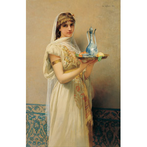 フリー絵画, ジュール・ジョゼフ・ルフェーブル, 人物画, 女性, 盆(トレイ), 召使い(使用人)