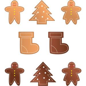 フリーイラスト, ベクター画像, AI, 食べ物(食料), 菓子, 洋菓子, クッキー(ビスケット), ジンジャーブレッドマン, 年中行事, クリスマス, 12月, サンタブーツ, クリスマスツリー