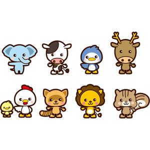 フリーイラスト, ベクター画像, AI, 動物, 哺乳類, 象(ゾウ), 牛(ウシ), ペンギン, 鹿(シカ), 鶏(ニワトリ), ひよこ(ヒヨコ), 狸(タヌキ), ライオン, 栗鼠(リス)