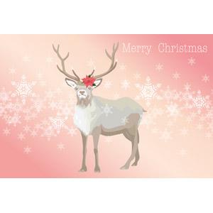 フリーイラスト, ベクター画像, EPS, 背景, 年中行事, クリスマス, 12月, 冬, 動物, 哺乳類, トナカイ, ポインセチア, 雪の結晶, メリークリスマス