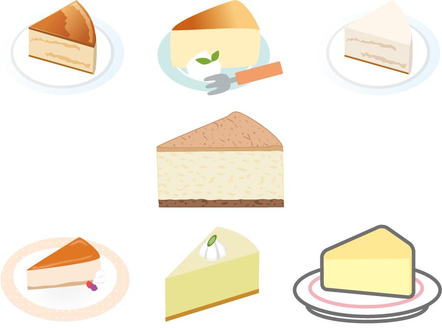 フリーイラスト 7種類のチーズケーキのセット