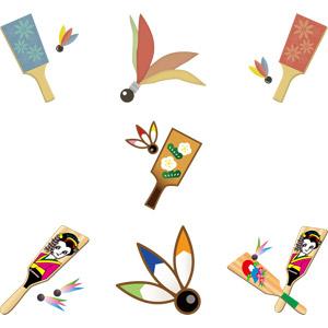 フリーイラスト, ベクター画像, AI, 子供の遊び, ゲーム, 羽根突き, 羽子板, 正月, 1月