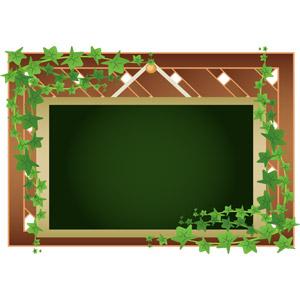 フリーイラスト, ベクター画像, AI, 背景, フレーム, 囲みフレーム, 黒板, 看板, 吊るし看板, つる植物