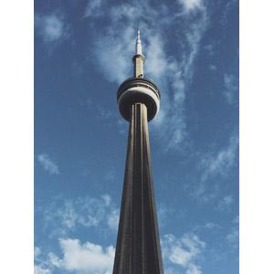 フリー写真, 風景, 建造物, 建築物, 塔(タワー), CNタワー, カナダの風景, トロント, 青空