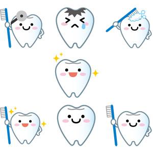 フリーイラスト, ベクター画像, AI, 人体, 歯, デンタルケア, 歯ブラシ(ハブラシ), 歯磨き(ハミガキ), 虫歯