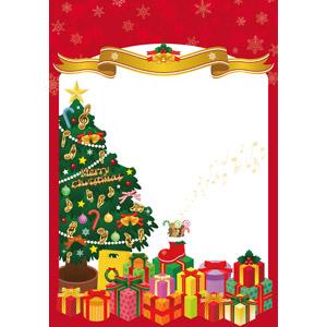フリーイラスト, ベクター画像, AI, 背景, 年中行事, クリスマス, 12月, 冬, 雪の結晶, 帯リボン, クリスマスプレゼント, クリスマスツリー, サンタブーツ, クリスマスベル, セイヨウヒイラギ