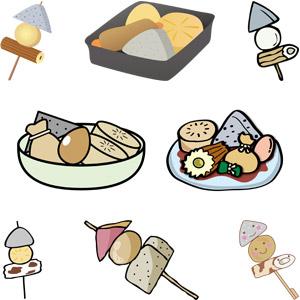 フリーイラスト, ベクター画像, AI, 食べ物(食料), 料理, 鍋料理, おでん, 冬, 日本料理, ゆで卵, こんにゃく(コンニャク), 大根(ダイコン), 竹輪(ちくわ)