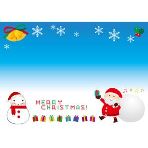 フリーイラスト, ベクター画像, AI, 背景, 年中行事, クリスマス, 12月, 冬, 雪の結晶, メリークリスマス, サンタクロース, 雪だるま, クリスマスプレゼント, セイヨウヒイラギ, クリスマスベル