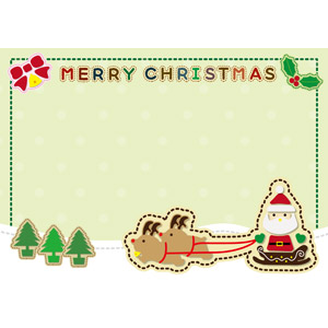 フリーイラスト, ベクター画像, EPS, 背景, フレーム, 囲みフレーム, メリークリスマス, サンタクロース, ソリ, トナカイ, セイヨウヒイラギ, クリスマスベル