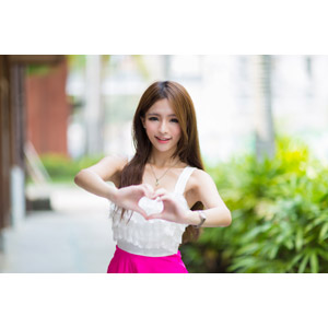 フリー写真, 人物, 女性, アジア人女性, Dora(00078), 中国人, ハート, 手でハートを作る