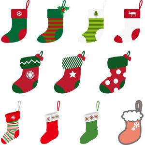 フリーイラスト, ベクター画像, AI, 年中行事, クリスマス, 12月, 冬, 靴下(ソックス), クリスマスソックス