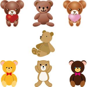 フリーイラスト, ベクター画像, AI, 玩具(おもちゃ), ぬいぐるみ, テディベア, 熊(クマ)