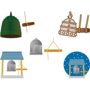 フリーイラスト, ベクター画像, AI, 年中行事, 除夜の鐘, 大晦日, 仏教, 鐘(ベル), 鐘楼, 12月