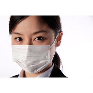 フリー写真, 人物, 女性, アジア人女性, 女性(00083), 日本人, 衛生マスク, ビジネス, 職業, ビジネスウーマン, OL(オフィスレディ), 花粉症, 風邪, 白背景, 病気