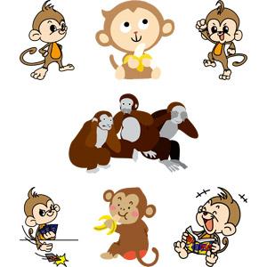 フリーイラスト, ベクター画像, AI, 動物, 哺乳類, 猿(サル), カードゲーム, 笑う(動物), 読書(動物), 食べる(動物), ガッツポーズ(動物), 三猿, 目を覆う(動物), 耳を塞ぐ(動物), 口を塞ぐ(動物)