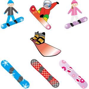 フリーイラスト, ベクター画像, AI, 人物, 男性, 女性, スポーツ, ウィンタースポーツ, スノーボード(スノボー), 冬, レジャー, スノーボーダー