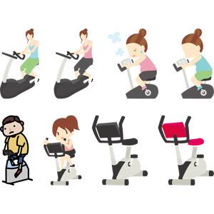 フリーイラスト, ベクター画像, AI, 運動, 人物, 男性, 女性, フィジカルトレーニング, エアロバイク, ダイエット, 苦しい