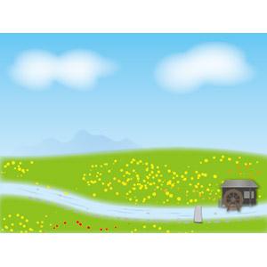 フリーイラスト, ベクター画像, AI, 風景, 丘, 青空, 河川, 水車, 小屋(納屋), 田舎