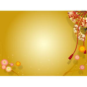 フリーイラスト, ベクター画像, AI, 背景, 年中行事, 和柄, 正月, 年賀状, 扇子, 1月, 花柄, 金色(ゴールド)