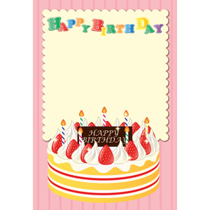 フリーイラスト, ベクター画像, AI, 背景, メッセージフレーム, メッセージカード, 誕生日(バースデー), ハッピーバースデー, バースデーケーキ, 食べ物(食料), 菓子, 洋菓子, スイーツ, ケーキ, ハッピーバースデー, ショートケーキ